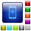 Color wireless phone square buttons - Set of wireless phone color glass rounded square buttons