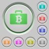 Bitcoin bag push buttons - Set of color Bitcoin bag sunk push buttons.