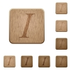 Italic font wooden buttons - Set of carved wooden Italic font buttons in 8 variations.