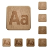 Font size wooden buttons - Set of carved wooden Font size buttons in 8 variations.