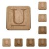 Underlined font wooden buttons - Set of carved wooden Underlined font buttons in 8 variations.