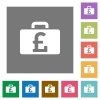 Pound bag square flat icons - Pound bag flat icon set on color square background.