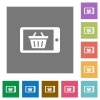 Mobile shopping square flat icons - Mobile shopping flat icon set on color square background.