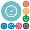 Flat speedometer icons - Flat speedometer icon set on round color background.