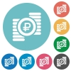 Flat ruble coins icons - Flat ruble coins icon set on round color background.