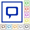 Comment framed flat icons - Set of color square framed comment flat icons on white background