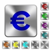 Steel euro sign buttons - Engraved euro sign icons on rounded square steel buttons