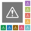 Warning square flat icons - Warning flat icon set on color square background.