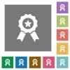 Award square flat icons - Award flat icon set on color square background.