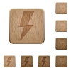 Flash wooden buttons - Set of carved wooden flash buttons in 8 variations.