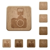 Camera wooden buttons - Set of carved wooden camera buttons in 8 variations.