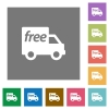Free shipping square flat icons - Free shipping flat icon set on color square background.