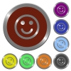 Set of color glossy coin-like smiley buttons. - Color smiley buttons