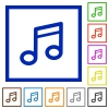 Music framed flat icons - Set of color square framed music flat icons on white background