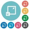 Flat maximize window icon set on round color background. - Flat maximize window icons
