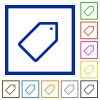 Tag framed flat icons - Set of color square framed tag flat icons on white background