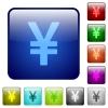 Yen sign color square buttons - Yen sign color glass rounded square button set