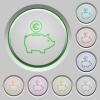 Euro piggy bank push buttons - Set of color Euro piggy bank sunk push buttons.