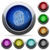 Fingerprint button set - Set of round glossy fingerprint buttons. Arranged layer structure.