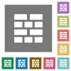 Firewall square flat icons - Firewall flat icon set on color square background.