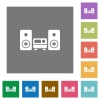 Hifi square flat icons - Hifi flat icon set on color square background.