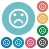 Flat sad emoticon icons - Flat sad emoticon icon set on round color background.