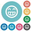 Flat laughing emoticon icons - Flat laughing emoticon icon set on round color background.
