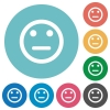 Flat neutral emoticon icons - Flat neutral emoticon icon set on round color background.