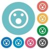 Flat shocked emoticon icons - Flat shocked emoticon icon set on round color background.