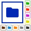 Set of color square framed folder flat icons on white background - Folder framed flat icons