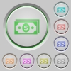 Dollar banknotes push buttons - Set of color Dollar banknotes sunk push buttons.