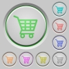 Shopping cart push buttons - Set of color shopping cart sunk push buttons.