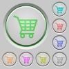 Shopping cart push buttons - Set of color shopping cart sunk push buttons.