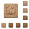 Multimedia wooden buttons - Set of carved wooden multimedia buttons in 8 variations.