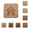 Home symbol wooden buttons - Set of carved wooden home symbol buttons in 8 variations.
