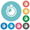 Flat timer icons - Flat timer icon set on round color background.