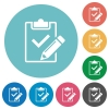Flat fill out checklist icons - Flat fill out checklist icon set on round color background.