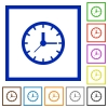 Clock framed flat icons - Set of color square framed clock flat icons on white background