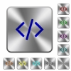 Engraved programming code icons on rounded square steel buttons - Steel programming code buttons