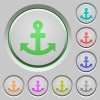 Anchor push buttons - Set of color anchor sunk push buttons.