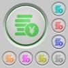 Yen coins push buttons - Set of color yen coins sunk push buttons.