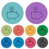 Color yen piggy bank flat icons - Color yen piggy bank flat icon set on round background.