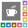 Cappuccino square flat icons - Cappuccino flat icon set on color square background.