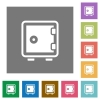 Strong box square flat icons - Strong box flat icon set on color square background.