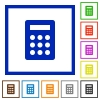 Calculator framed flat icons - Set of color square framed Calculator flat icons on white background