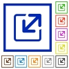 Resize element framed flat icons - Set of color square framed Resize element flat icons on white background