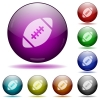 Rugby ball glass sphere buttons - Set of color rugby ball glass sphere buttons with shadows.