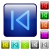 Color media prev glass buttons - Set of color media prev glass web buttons.