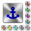 Steel anchor buttons - Engraved anchor icons on rounded square steel buttons