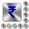Steel indian rupee sign buttons - Engraved indian rupee sign icons on rounded square steel buttons
